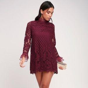 NEW Lulu's Burgundy Lace Dress